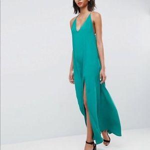 ASOS Deep Plunge V Back Strappy Maxi Dress